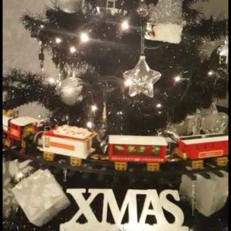 Warteschlangenzug für den Weihnachtsbaum